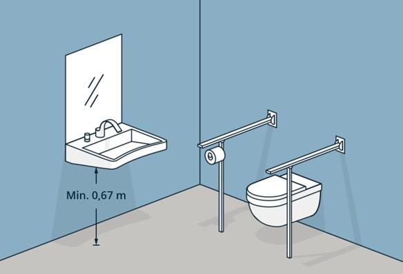 Illustrasjon baderom med fastmontert utstyr i kontrast til vegger