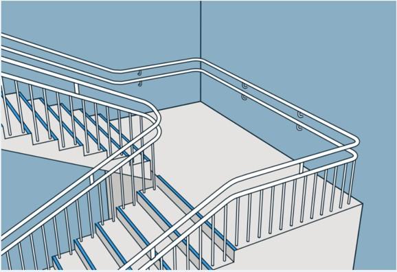 Illustrasjon av trapp, med repos, trappeneser og håndløpere