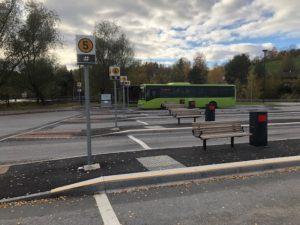 Foto av plattform ved bussterminal fra Viken fylkeskommune